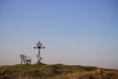 Croix de cimetière en silhouette Photos libres de droits