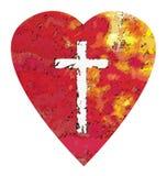 Croix de coeur images stock
