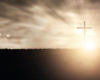 Croix de coucher du soleil Images libres de droits