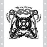 Croix de deux ancres avec la corde Label de noir de vintage de mer Illustration de Vecteur