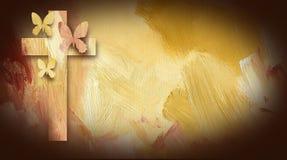 Croix de Jésus avec les papillons indulgents Photographie stock