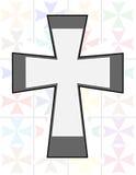 Croix de Jésus dans la couleur de son deux sur le mur de Cristal de transparence Images stock