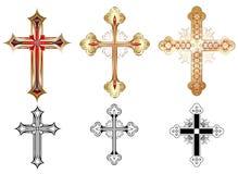 Croix de l'or trois Photos stock