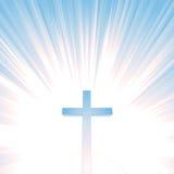 Croix de lumière et de chrétien de ciel Photographie stock libre de droits
