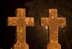Croix de nuit Photos stock