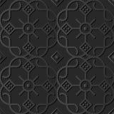 croix de papier foncée Dot Line Frame Flower rond de contrôle de courbe de l'art 3D Image stock
