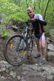 croix de pays de cycliste Images libres de droits