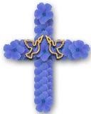 Croix des fleurs bleues avec des colombes illustration stock