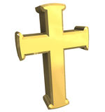 Croix en or - 3D illustration stock