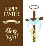 Croix en bois avec le linceul, lis, couronne des épines Carte de voeux heureuse d'illustration ou de concept de Pâques Symboles r illustration libre de droits