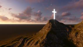 Croix en bois rougeoyante Image libre de droits