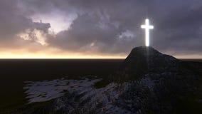 Croix en bois rougeoyante Images libres de droits