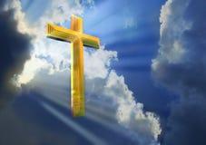 Croix en ciel céleste Photos libres de droits