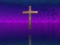 Croix en ciel pourpré Photo stock