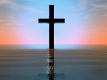Croix en mer Photo stock