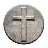 Croix en pierre découpée sur le panneau conique circulaire Photographie stock libre de droits
