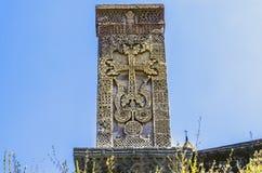 Croix en pierre gravée médiévale au sujet du monastère de Haghpat Image libre de droits