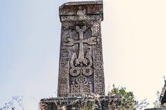 Croix en pierre gravée médiévale au sujet du monastère de Haghpat Photo libre de droits