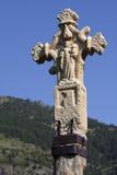 Croix en pierre médiévale en Andorre Photographie stock libre de droits