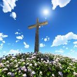 Croix entourée par des fleurs illustration stock