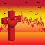 Croix et coeur Photo stock