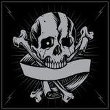 Croix et ruban d'os de crâne Photos stock