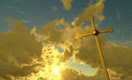 Croix faite à partir de l'or Image stock