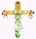 Croix florale verte illustration stock