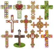 Croix florales réglées d'isolement Images libres de droits