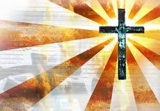 Croix grunge en métal Photographie stock libre de droits