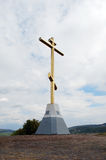Croix mémorable sur Tsaryov Kurgan Règlement de Volzhsky Région de Samara photos libres de droits