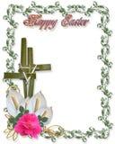 Croix religieuse de cadre de Pâques illustration stock