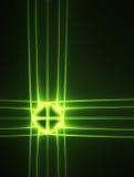 Croix rougeoyante verte de technologie sur un noir Photographie stock libre de droits