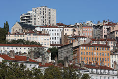 Croix-Rousse. District in Lyon city seen from the banks of the Rhone river Royalty Free Stock Image