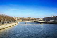 Croix Rousse district and saone river, Lyon, France Stock Photos