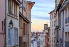 Croix Rousse. Old and colorful street in Croix Rousse, an old part of the city of Lyon, France Stock Images