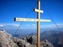 Croix sur l'alpe Photographie stock libre de droits