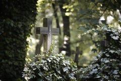 Croix sur la tombe image libre de droits