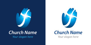 Croix sur le logo d'église de main photographie stock libre de droits