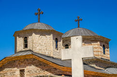 Croix sur le monastère de Slepce, village Slepce, Macédoine Photographie stock