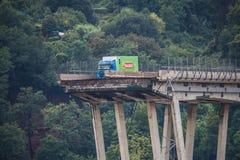 Crollo del ponte di Morandi a Genova, Italia fotografia stock libera da diritti