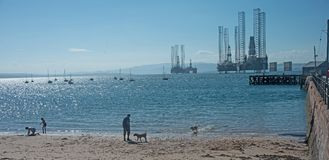 Cromarty, das Yachten und Ölplattformen zeigt Stockfotografie