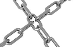 Crome chain. Crossing over eachother Stock Images