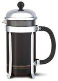 Crome el jarro del café del cafetiere en un fondo blanco Foto de archivo