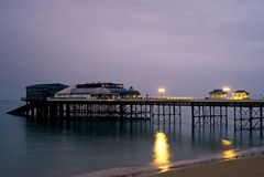 Cromer pier at night. royalty free stock photo