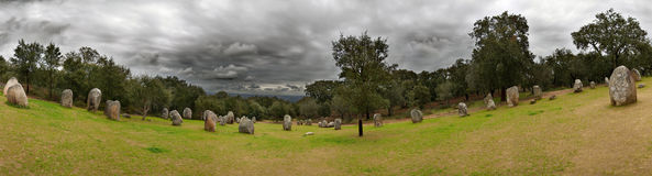 Cromlech of Almendres panorama stock image