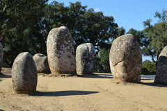 Cromlech dei menhir di Almendres Fotografie Stock