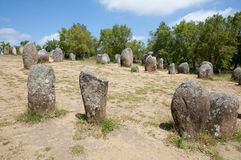 Cromlech del Almendres - Evora - il Portogallo Fotografia Stock