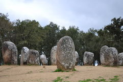 Cromlech von Almendres Stockfotos