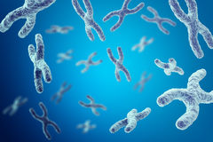 Cromosomi su fondo blu, illustrazione scientifica di concetto 3d royalty illustrazione gratis